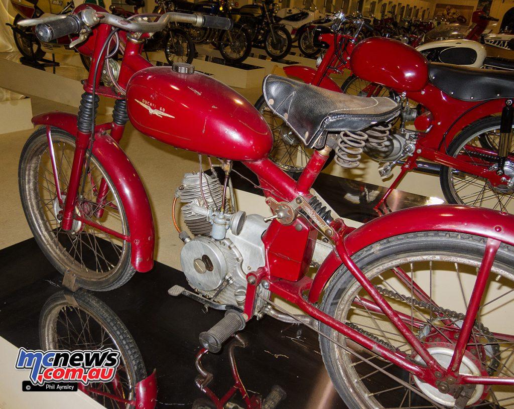 An unrestored 1949/1950 Ducati 60 Sport in the Morbideli Museum, Italy. Rear left side.