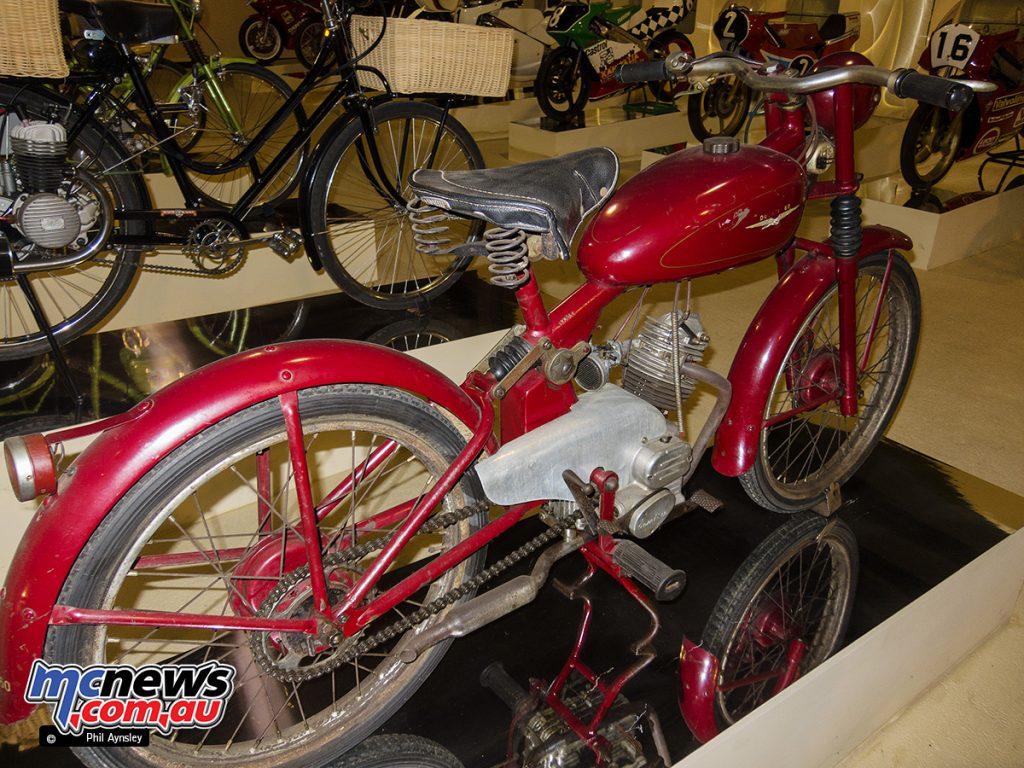 An unrestored 1949/1950 Ducati 60 Sport in the Morbideli Museum, Italy. Rear right side.