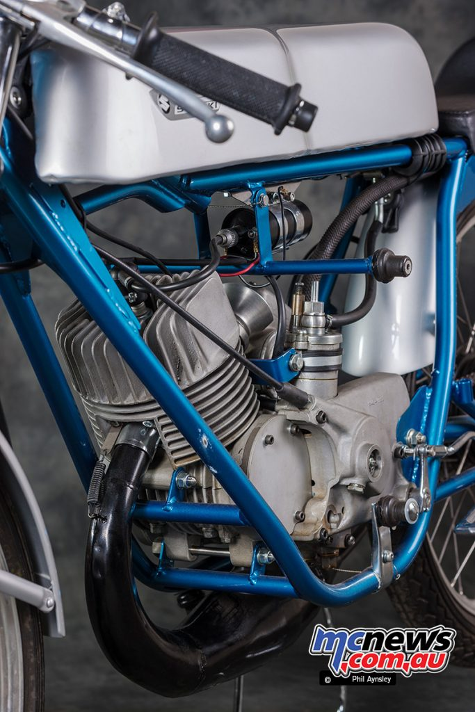 The sand-cast engine cases housed a six speed gearbox on the 1967 TR50.