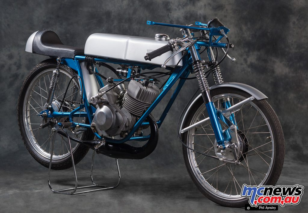 Having dominated 50cc racing between 1962 and 1967 before withdrawing in 1968, Suzuki offered the TR50 Production Racer.