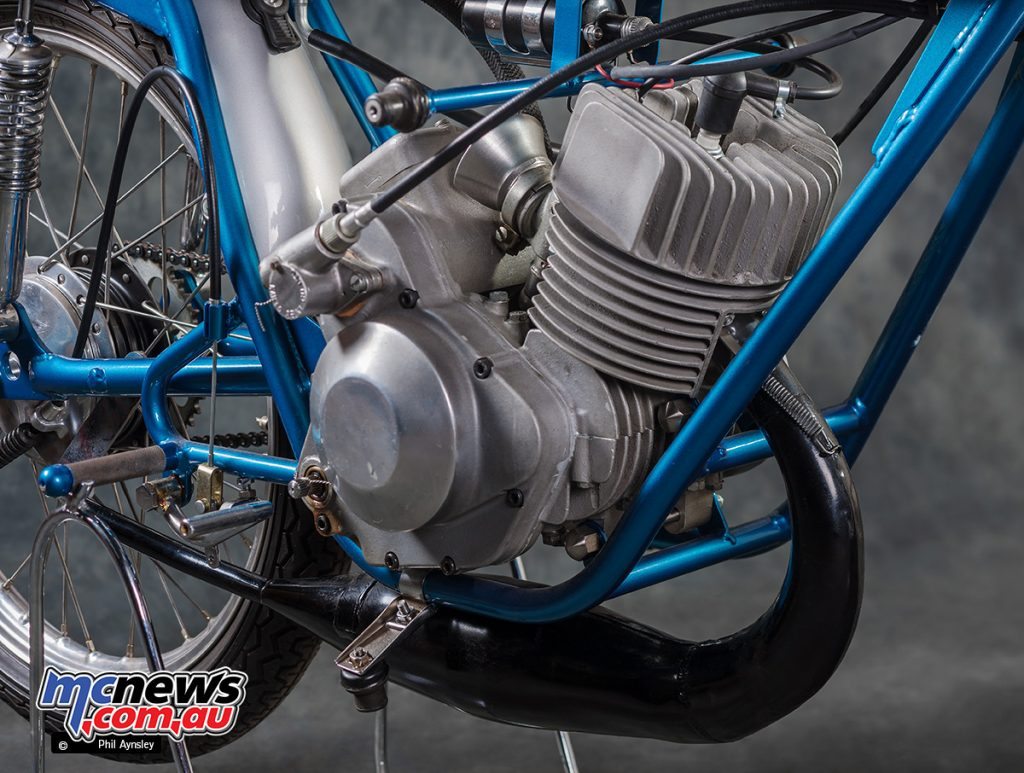 The 1967 Suzuki TR50's air-cooled piston port motor made 8.5hp at 11,000rpm.