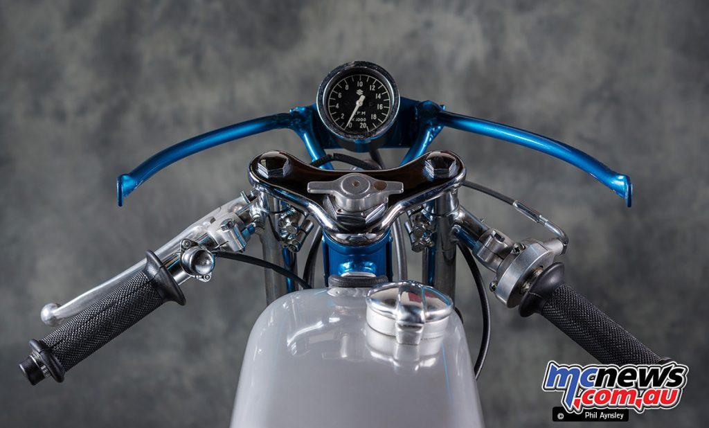 1967 Suzuki TR50. Works RK50 odometer, fairing removed.