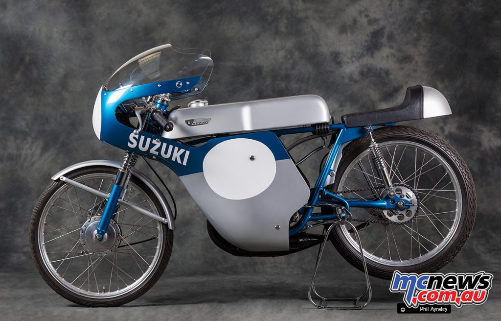 This 1967 Suzuki TR50 is now fitted with works rear shocks and is part of the Team Classic Suzuki collection.