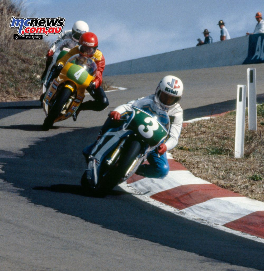 Chris Oldfield/Rotax 250 leads Graeme Geddes/Armstrong 250 and Michael Dowson/Yamaha TZ250.