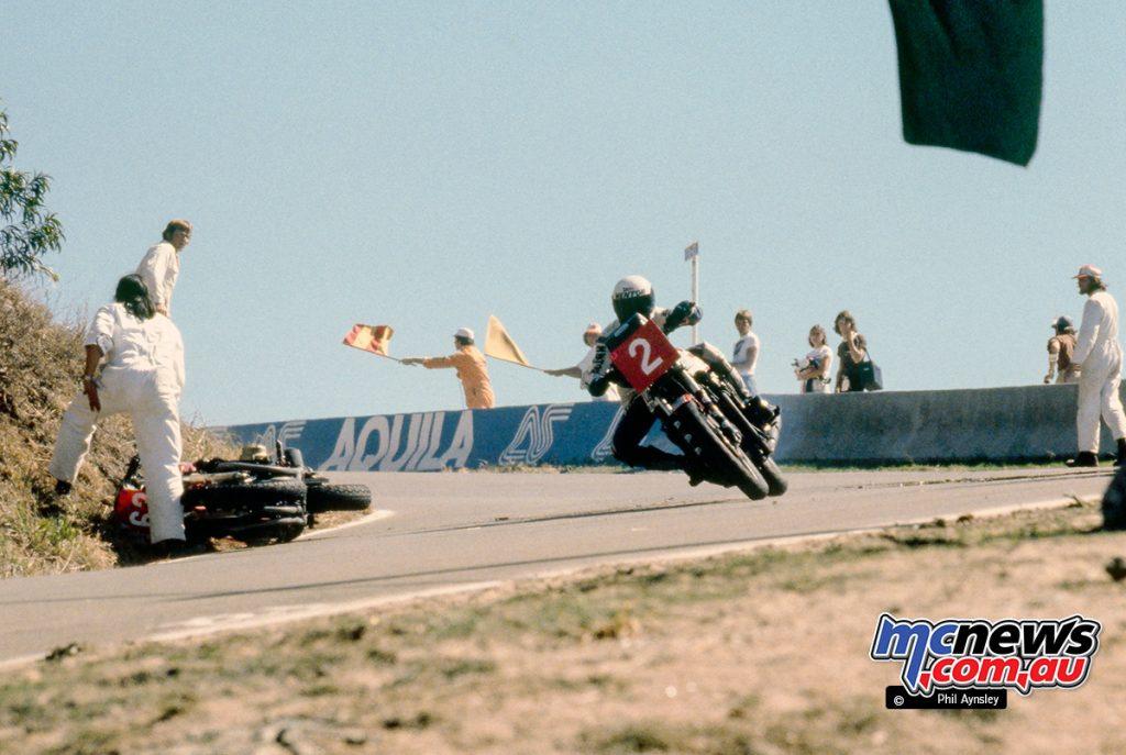 John Pace/Kawasaki 1100 passes Roger Heyes' crashed Honda 1100.