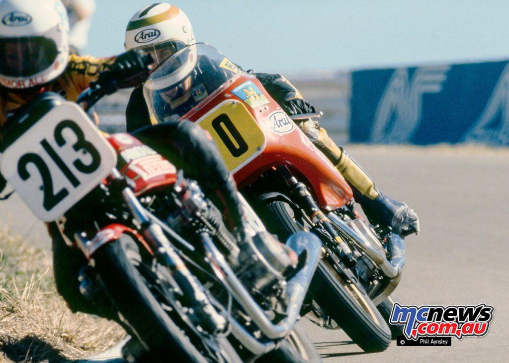 The Ducati 500 Pantah's first race in Australia. Lee Roebuck follows Jennifer Coates/Suzuki 750.