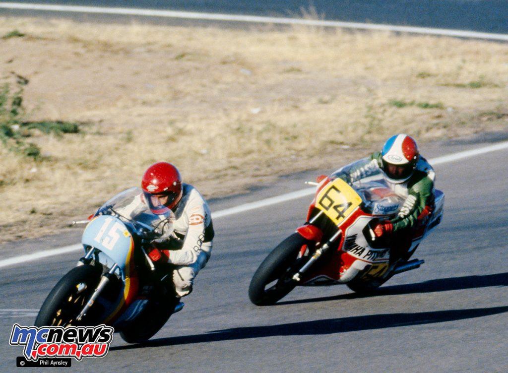 Dave Robbins/Yamaha TZ350 with Greg Pretty/Yamaha TZ500 hot on his heels.