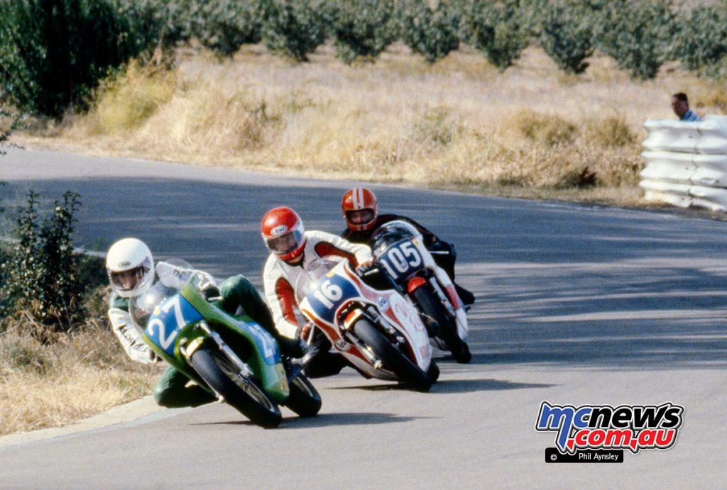 Paul Cawthorne/Kawasaki KR350 leads John Wood/Yamaha TZ350 and Gary Sutton/Yamaha TZ350.