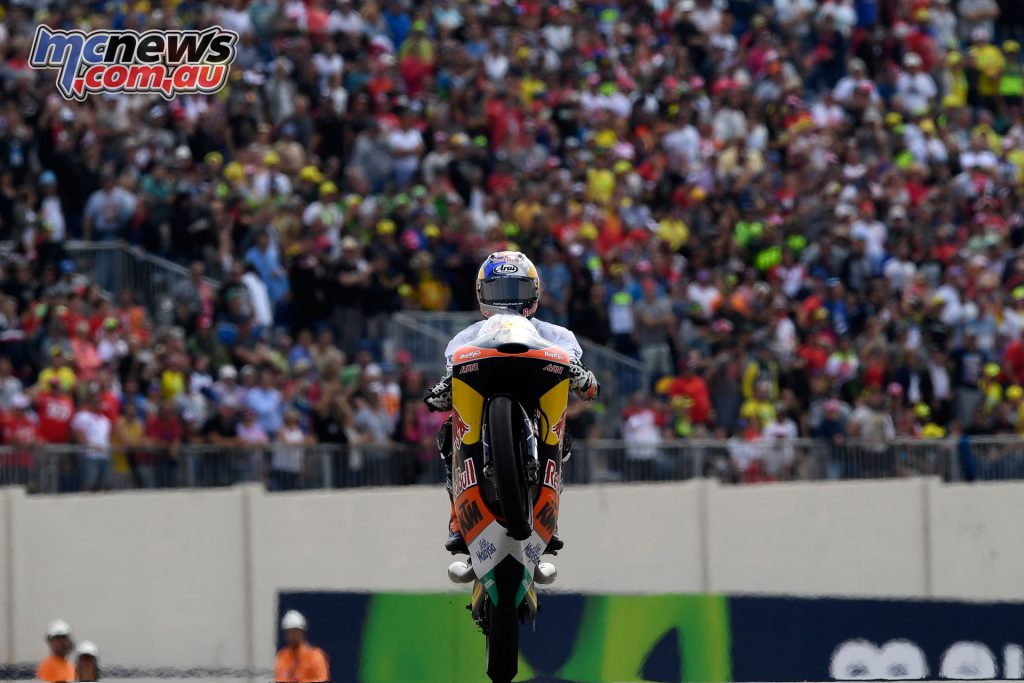 Red Bull KTM Ajo rider Brad Binder celebrates his Moto3 Championship victory after taking second in Aragon and clinching the title.
