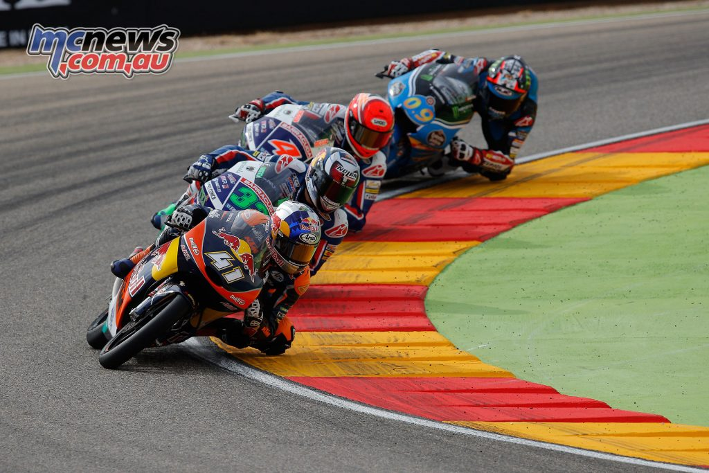Brad Binder led the field at times, with fierce competition from Navarro, Bastianini and Giannantonio.