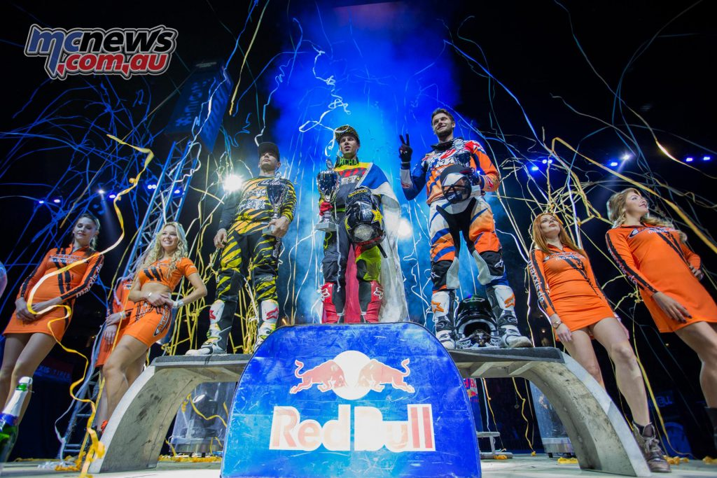 2016 Night of the Jumps, Cologne, Podium, Libor Podmol (first), Rob Adelberg (second), Petr Pilat (third)