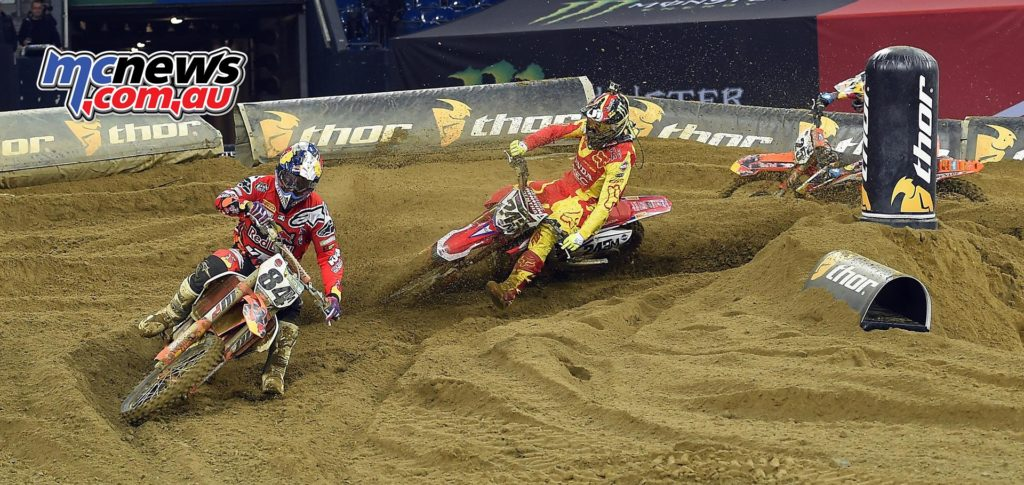 Gajser between Herlings and Musquin, 2016 SMX Cup