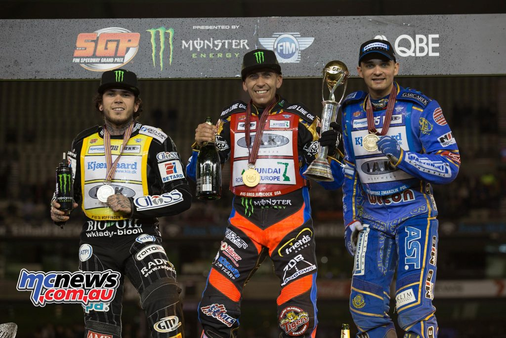 Greg Hancock takes the 2016 FIM Speedway World Championship, with Tai Woffinden second overall, and Bartosz Zmarzlik third.
