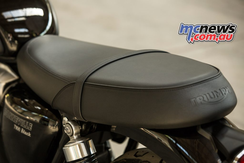 2017 Triumph Bonneville T100 Black. A low seat height ideal for any rider, with USB socket for charging under seat.