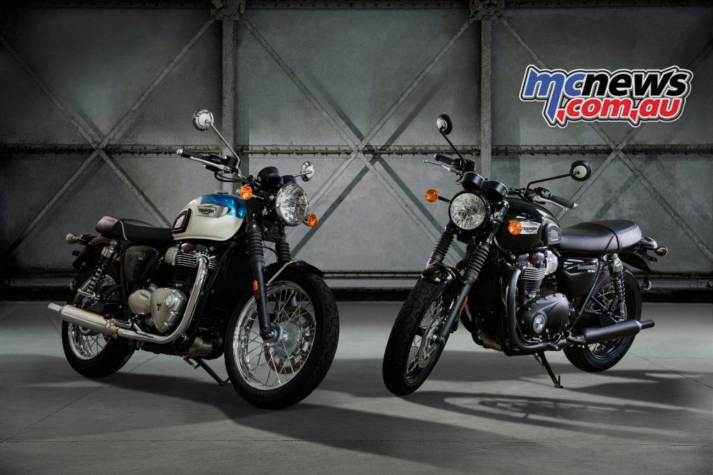 2017 Triumph Bonneville T100 and T100 Black.