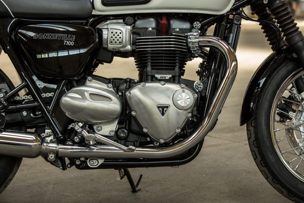 2017 Triumph Bonneville T100's powered by the 900cc Bonneville 270° crank angle parallel twin.