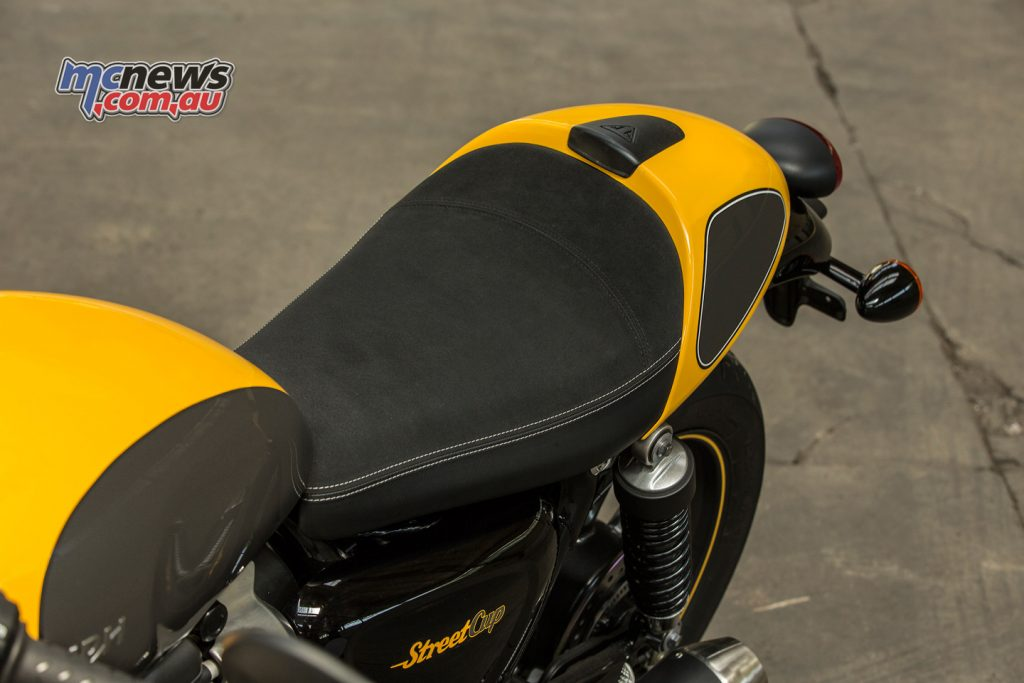 2017 Triumph Street Cup seat and seat cowl.