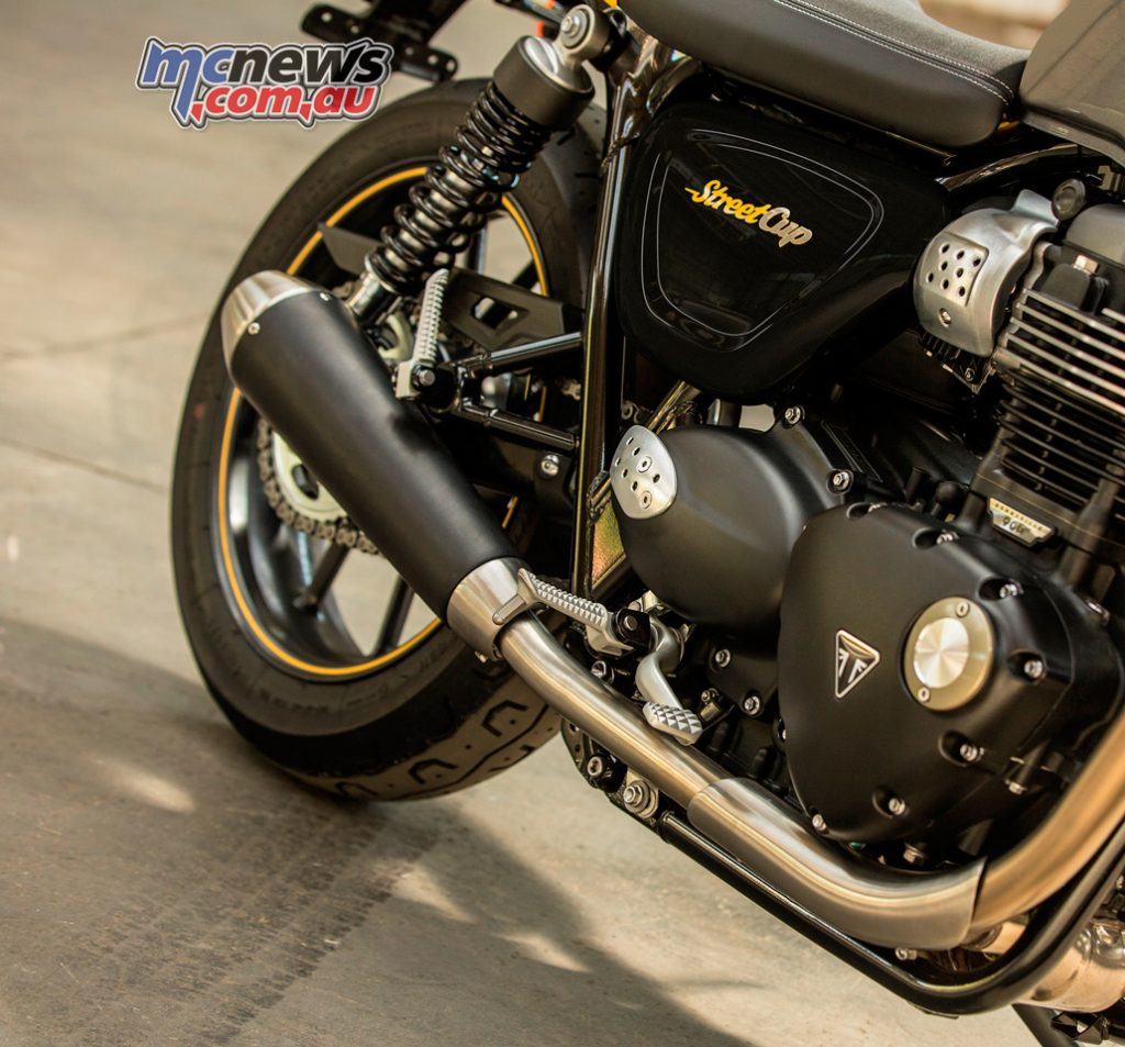 2017 Triumph Street Cup engine and exhaust.