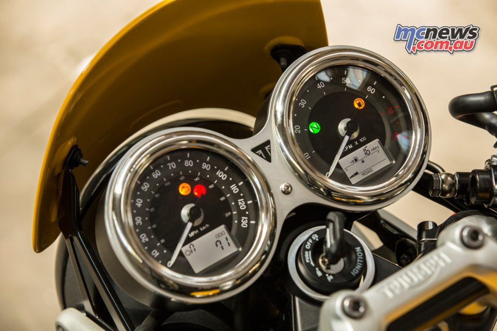 2017 Triumph Street Cup twin clocks with multifunction digital displays.