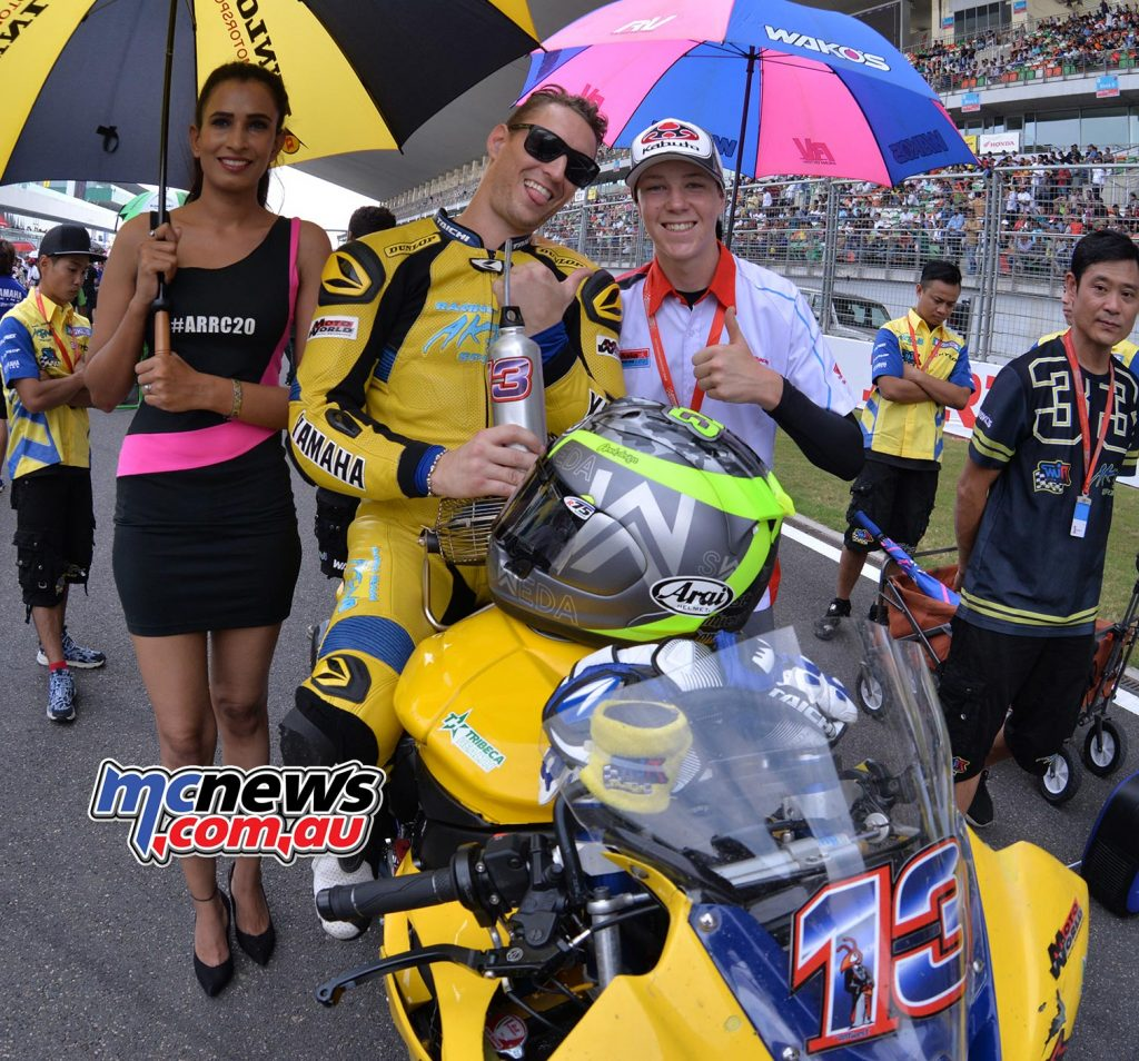 Anthony West on the grid with Broc Pearson, his fellow young Queenslander also tated victory in India