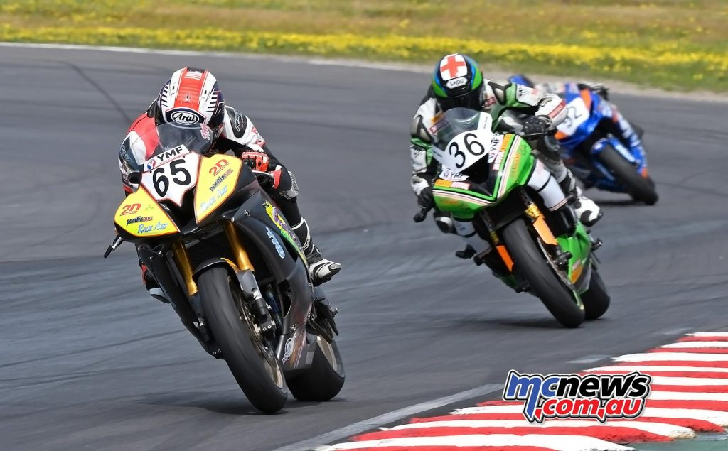 ASBK 2016 - Winton - Image by Keith Muir - Troy Guenther leads Sam Clarke