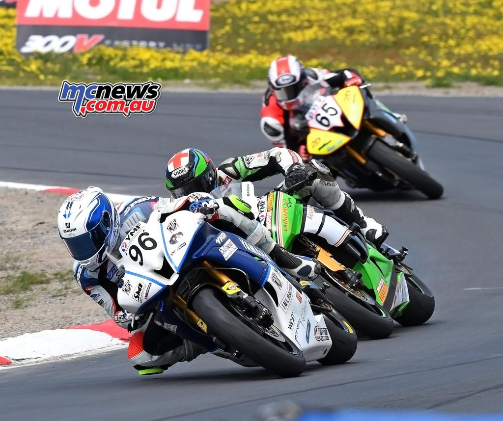 ASBK 2016 - Winton - Image by Keith Muir - Luke Mitchell leads Sam Clarke and Troy Guenther