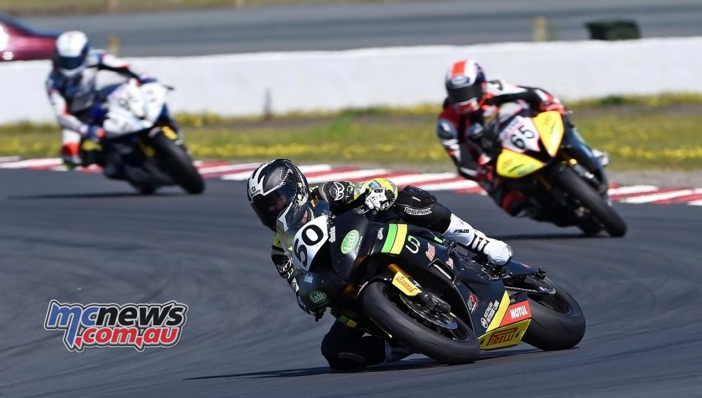 ASBK 2016 - Winton - Image by Keith Muir - Callum Spriggs leads Troy Guenther