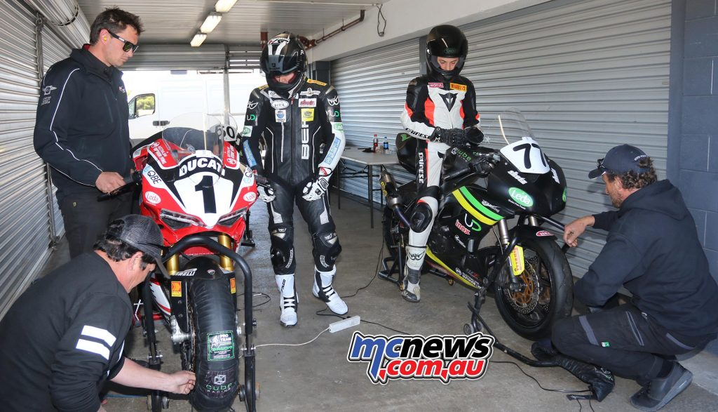 Callum Spriggs rode the DesmoSport Ducati for the first time while young Tom Toparis tasted the speed of a 600cc Supersport