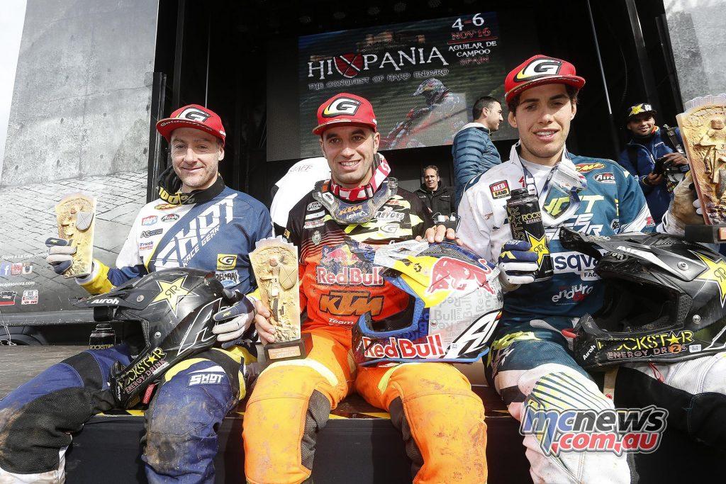 Hixpania 2016 Podium Results - Hixpania Hard Enduro 1. Alfredo Gomez (KTM) 2. Graham Jarvis (Husqvarna) 3. Mario Roman (Husqvarna)