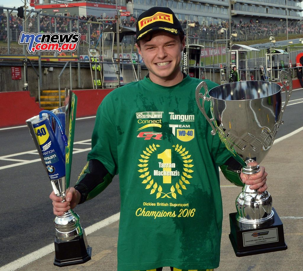 Tarran Mackenzie when he won the 2016 Dickies British Supersport Championship - The youngster will be Brookes' teammate in BSB 2018