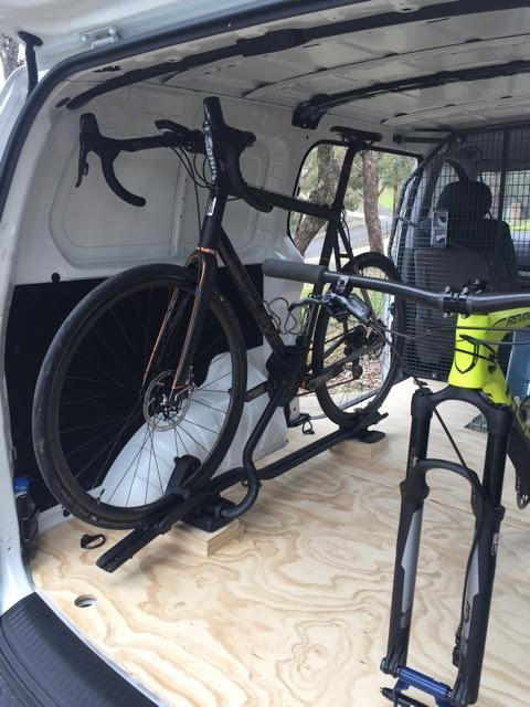 The Thule ProRide with bike fitted. This is normally a roofrack mounted system, so required a special setup.