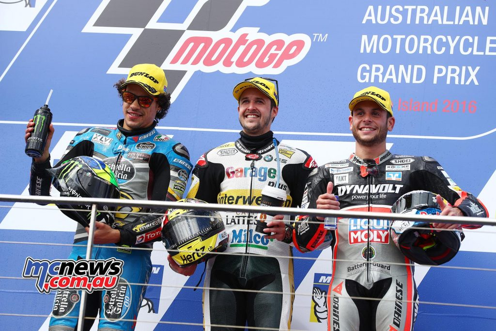 Tom Luthi got the better of Franco Morbidelli at Phillip Island last year in what was an almost dead-heat - Image by AJRN
