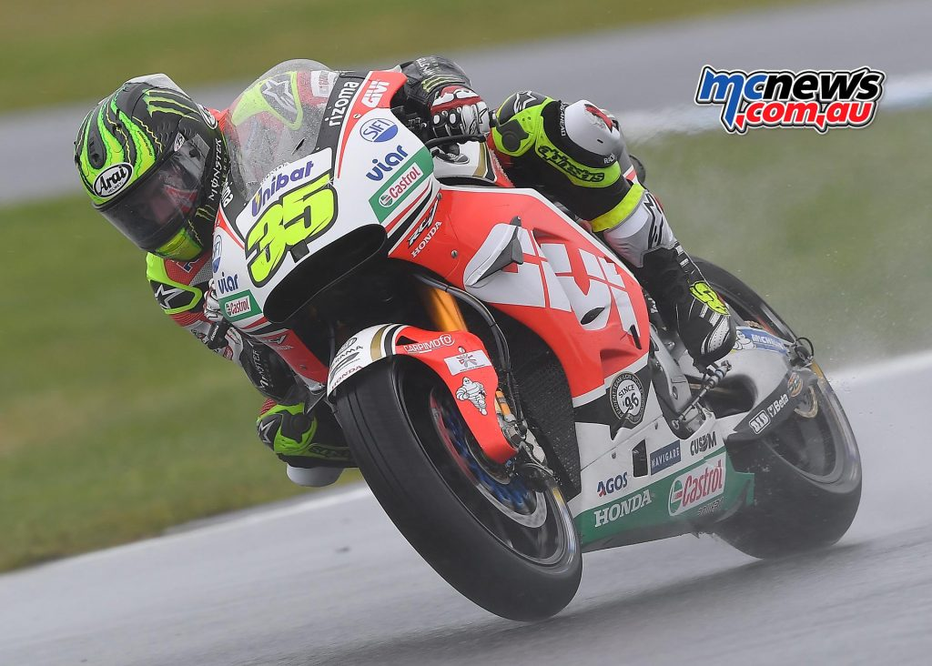 Cal Crutchlow topped a very wet day one at Phillip Island