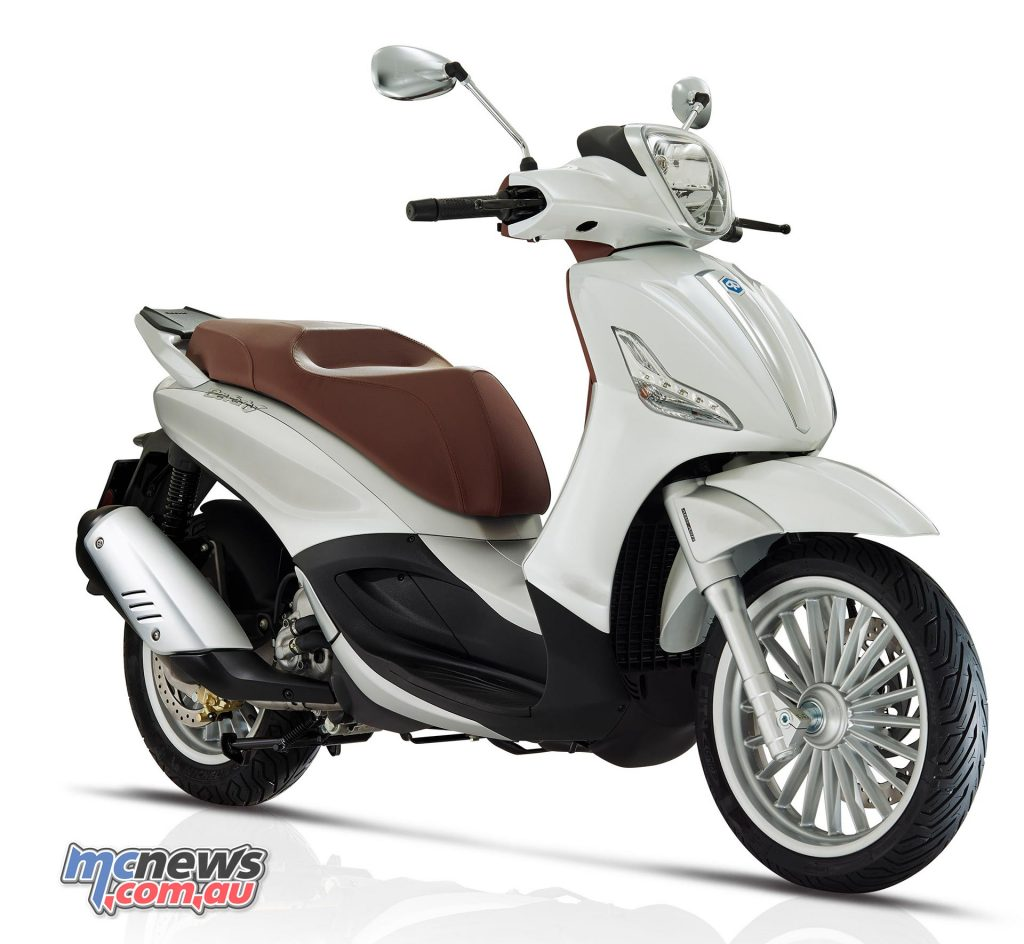 The Piaggio Beverly 300 features LED daytime running lights and taillights.