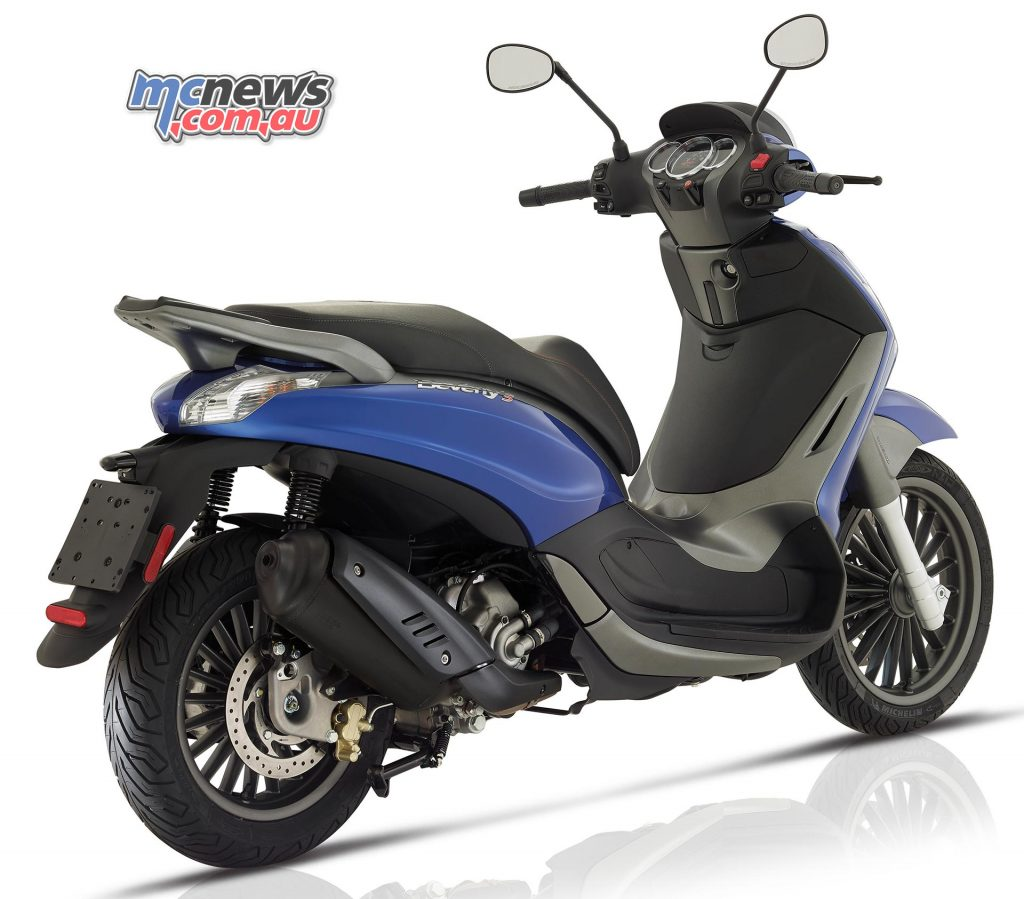 The Piaggio Beverly 300 S stands out for its motorcycle inspired chassis.