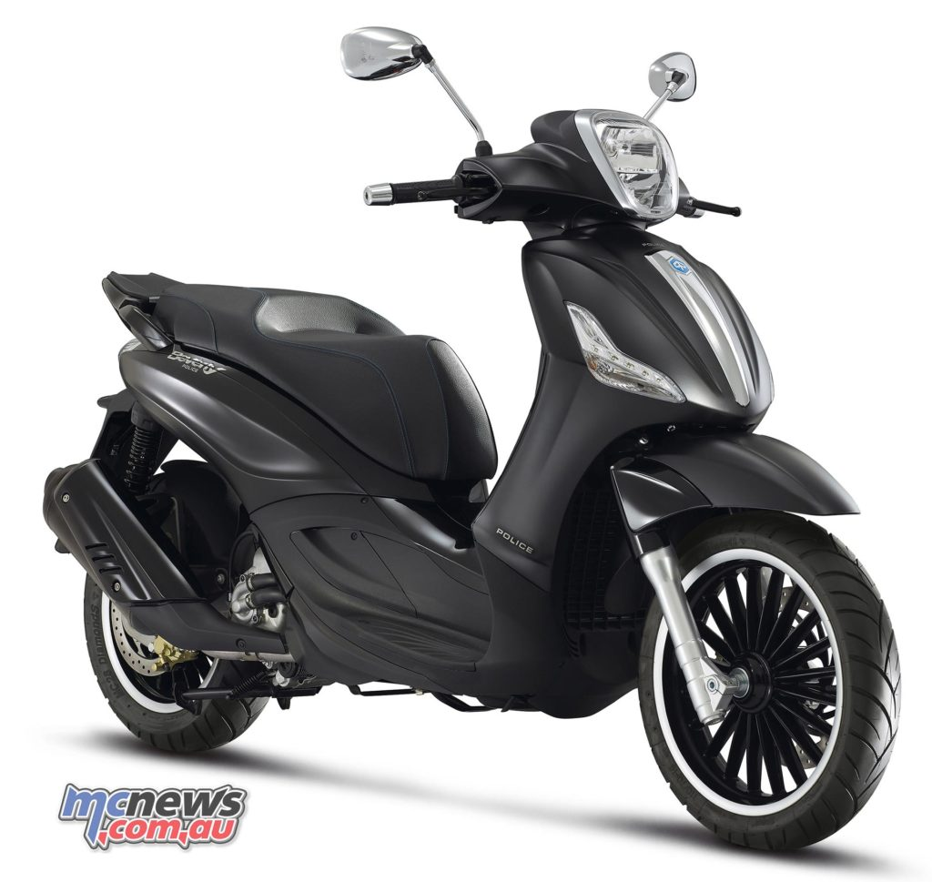 The latest addition to the Piaggio Beverly line, the Police model.