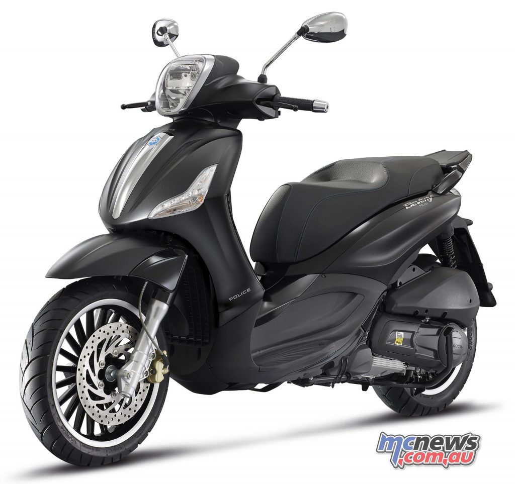 The Piaggio Beverly By Police is a special version of the Beverly 300.