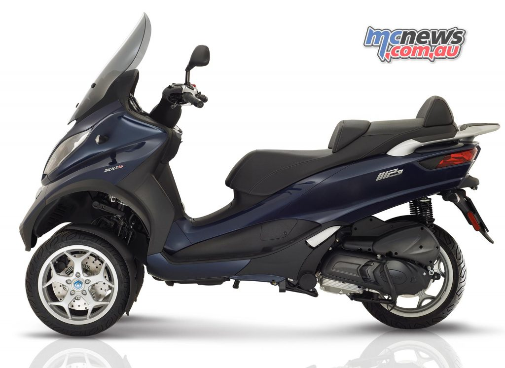 The 2017 Piaggio MP3 300 Business (pictured) and 500 Business are designed to provide a more elegant solution.