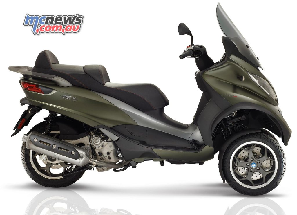 The 2017 Piaggio MP3 500 Sport (pictured) and 300 Sport offer a more dynamic sporty option.