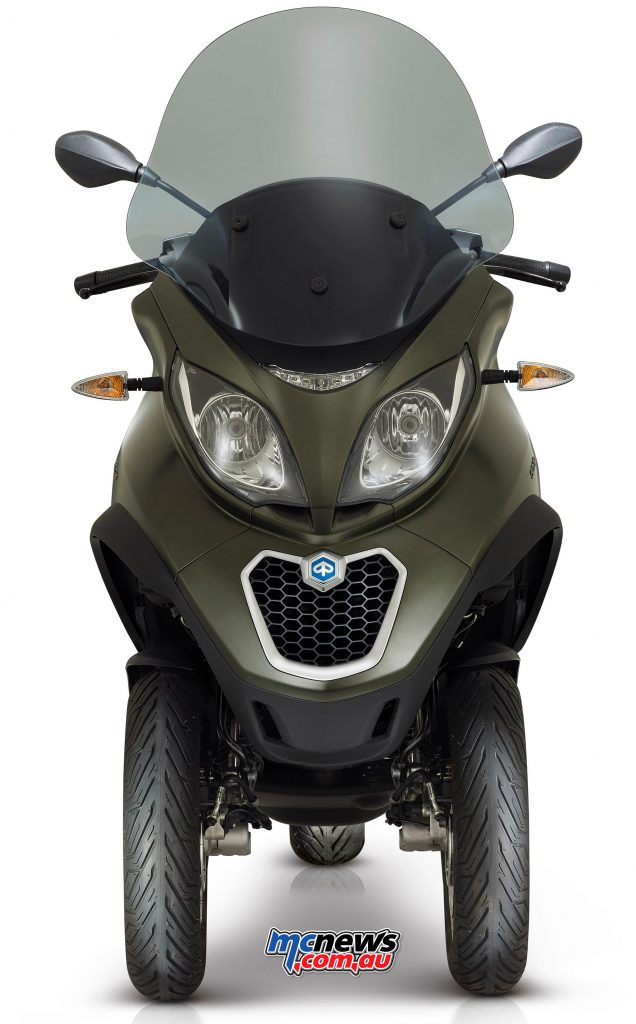 The Piaggio MP3 500 Sport offers a great compromise between a car and scooter, with great stability and safety.
