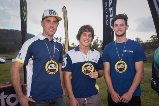 Husqvarna Team of Christian Horwood, Fraser Higlett and Zak Small have taken out the Transmoto Six Hour held at Conondale - Image by Transmoto