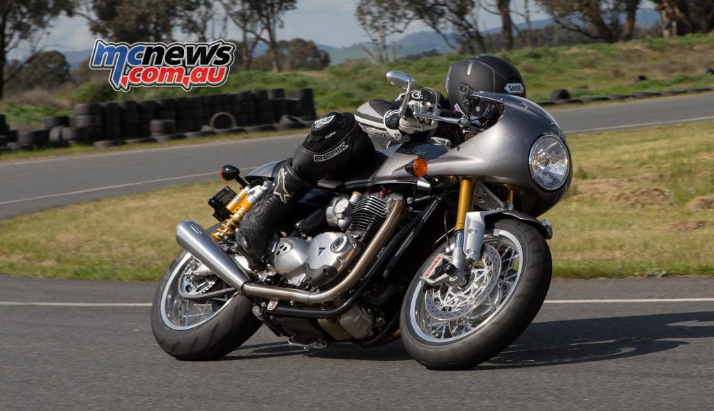 Triumph Thruxton R with optional racer fairing playing boy racer