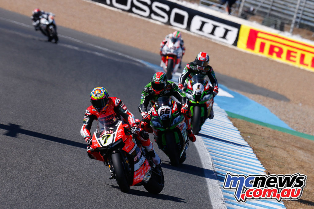 Chaz Davies leads Sykes and Rea.