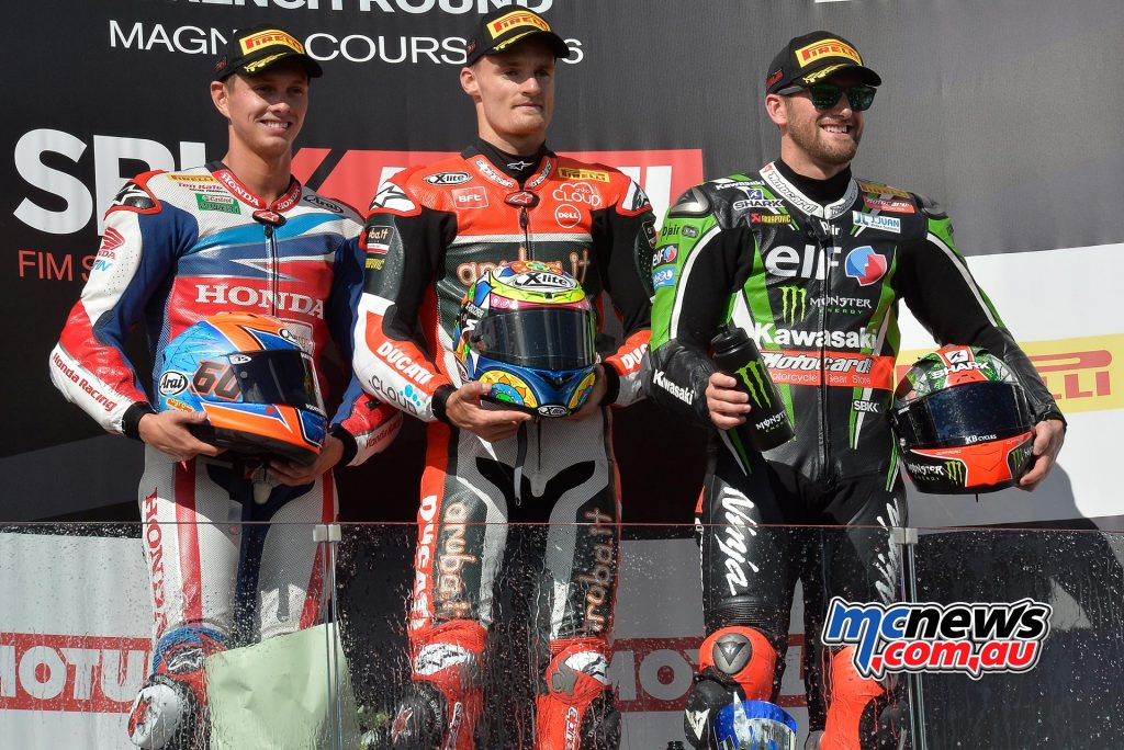WorldSBK 2016 Magny-Cours Race One - Chaz Davies the victor over Michael Van Der Mark and Tom Sykes