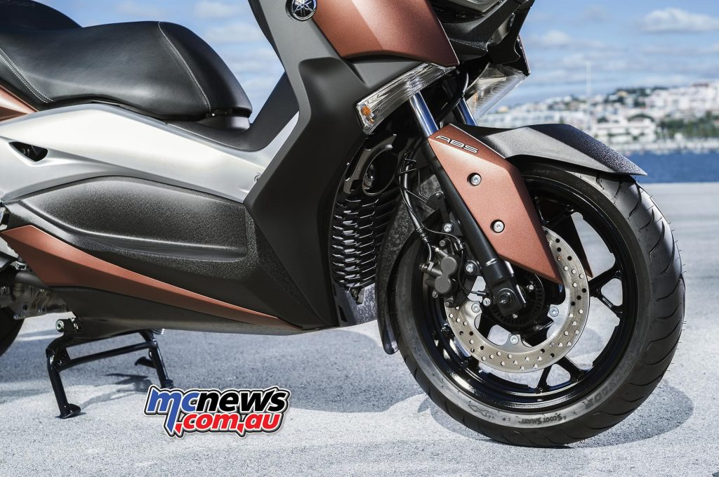 2017 Yamaha X-Max 300, motorcycle-type forks, single 267mm front disc, with ABS as standard