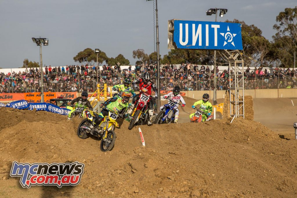 Luke Wilson takes the holeshot in an MX1 heat