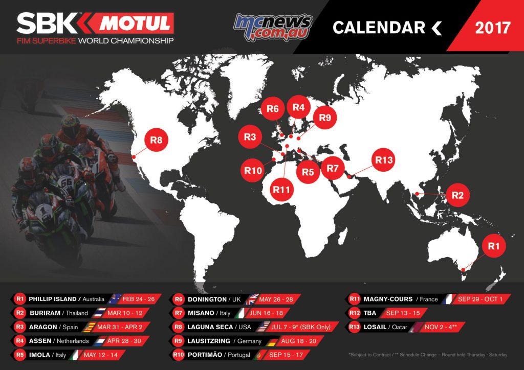 2017 World Superbike Calendar - Provisional