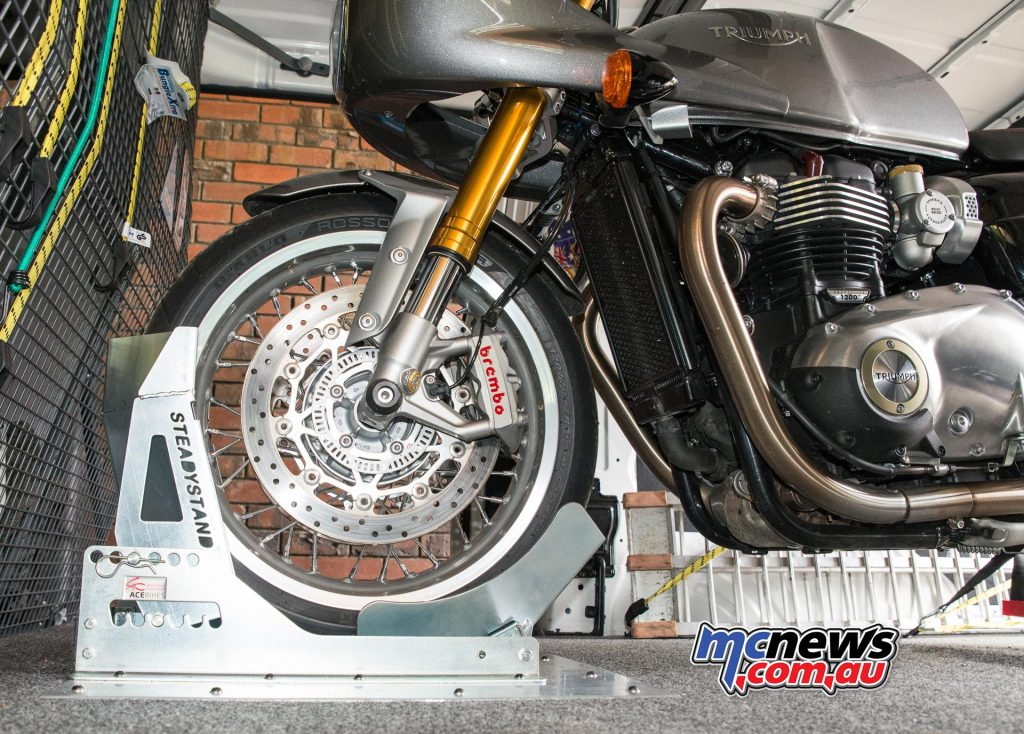 Triumph Thruxton R located in the van via the Acebikes SteadyStand
