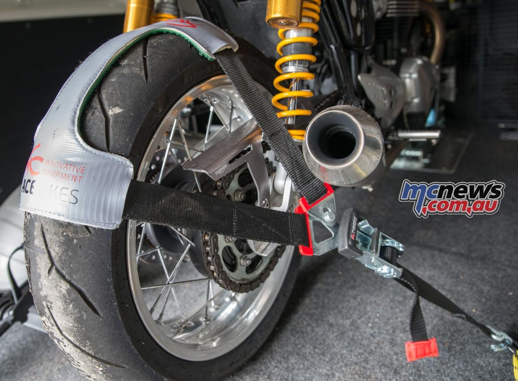 Locating the rear of the motorcycle securely and holding it forward into the ACEBIKES Steady Stand is the ACEBIKES TyreFix system.