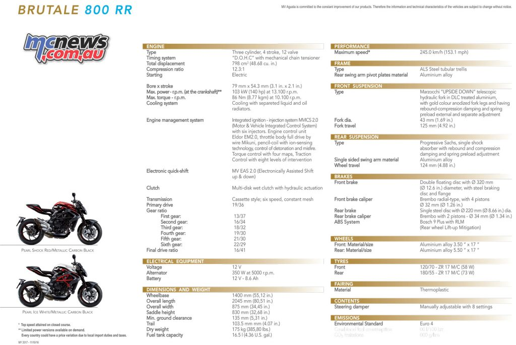 2017 MV Agusta Brutale 800 RR specifications